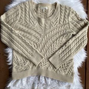 [Monteau] Cream Cable Knit Lace Sweater - M